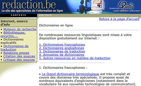 """L'ancienne page """"dictionnaires"""" sur redaction.be"""