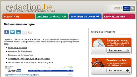 """La nouvelle page """"dictionnaires"""" sur redaction.be"""