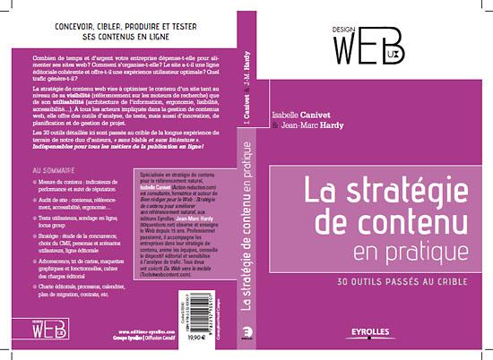 Stratégie de contenu en pratique : couverture du livre d'Isabelle Canivet et Jean-Marc Hardy.