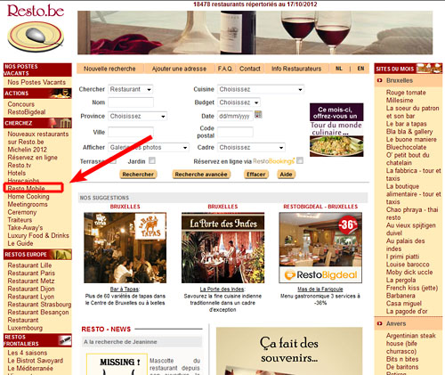 La version mobile de resto.be : complètement noyée dans le menu de navigation