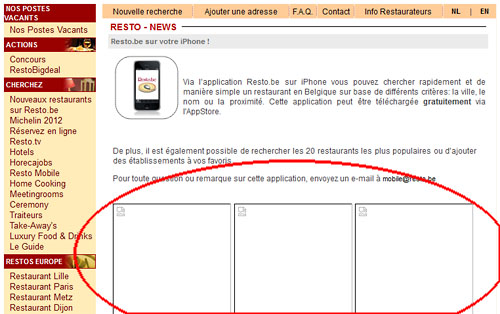 La page de promotion de la version mobile sur resto.be