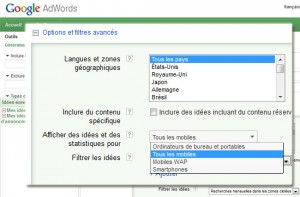 Recherches mots-clés sur mobiles