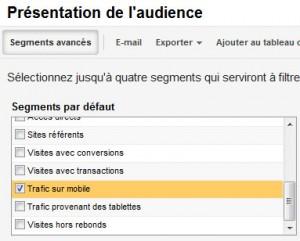 """Isoler le trafic mobile dans Google Analytics, à l'aide du segment """"Trafic sur mobile"""""""