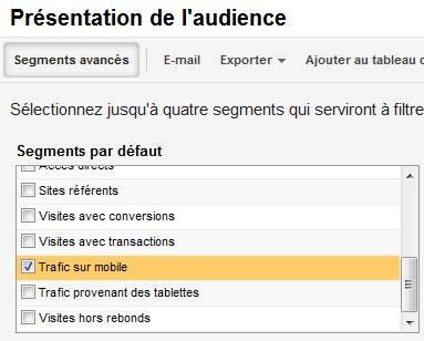 Isoler le trafic mobile dans Google Analytics, à l'aide du segment