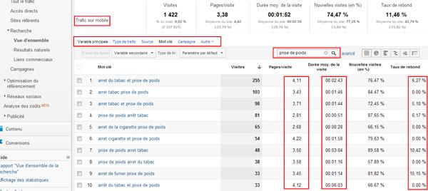 Sélection de mots clés - insertion dans la ligne éditoriale Google Analytics