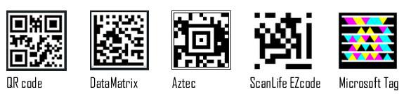 QR code, DataMatrix, Aztec, ScanLife EZ code, Microsoft Tag