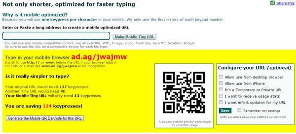 Raccourcir une URL pour mobile