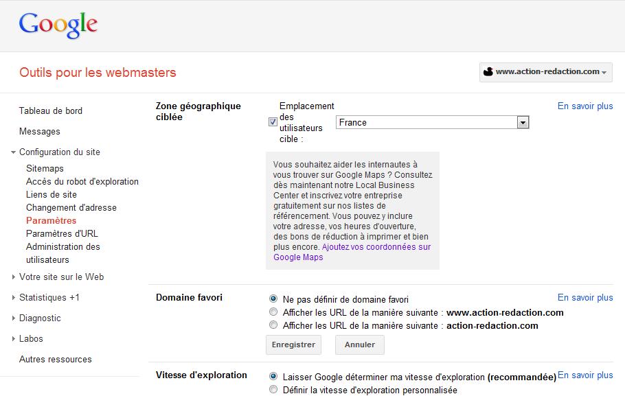 Définir un nom de domaine canonique dans les Google Webmaster Tools