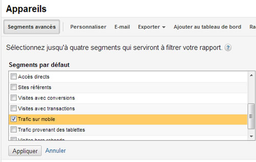 Segmentation du trafic mobile Google Analytics