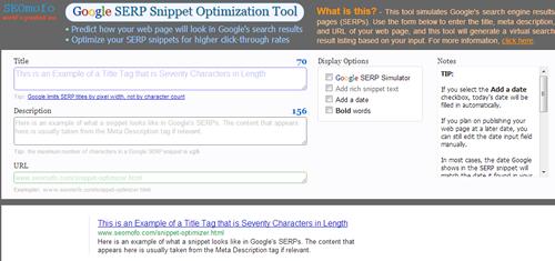 Seomofo.com, un outil en ligne pour simuler l'affiche du title et de la meta description