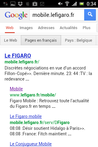 Le title de la page d'accueil du site mobile du Figaro : incomplet