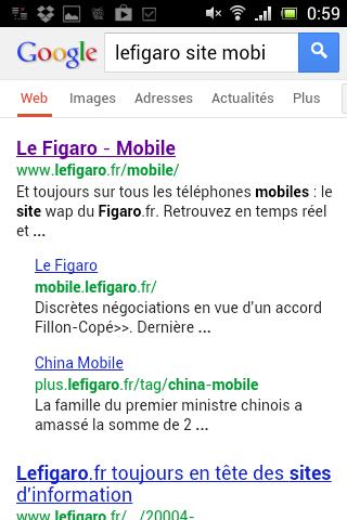 Le Figaro : Mobile, le title, laisse penser que l'on va accéder au site mobile.