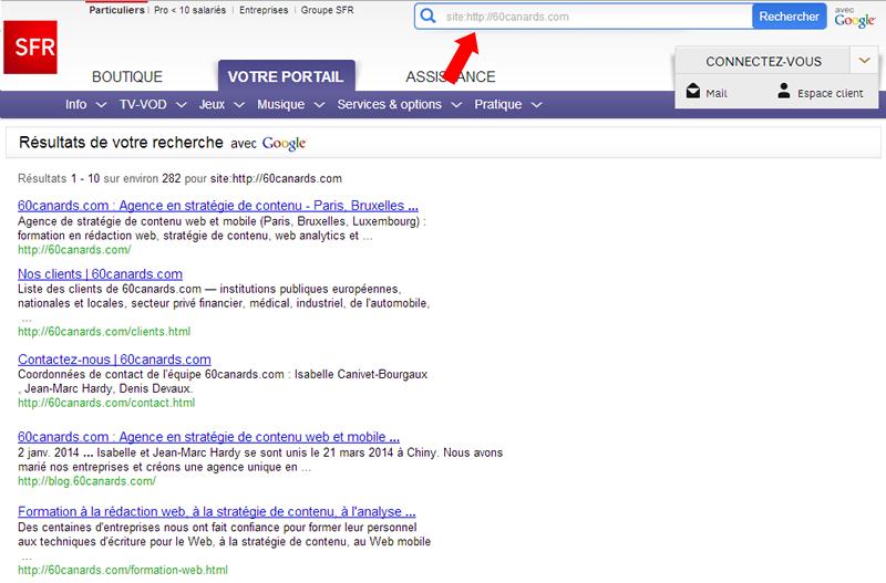Pages présentes dans l'index principal de Google