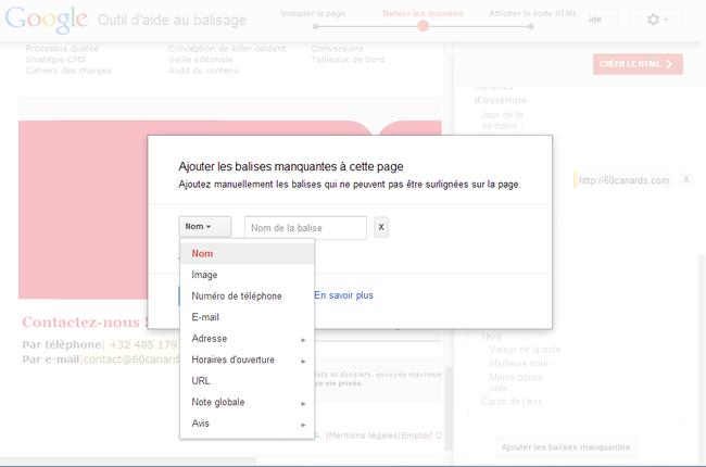 Outil d'aide au balisage des données structurées exemple