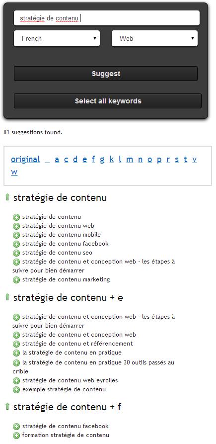 Outil gratuit de recherche des mots clés