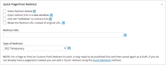 Le plugin Quick Post/Page Redirect pour WordPress