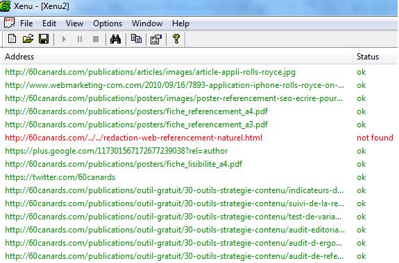 Audit des liens internes avec le logiciel Xenu