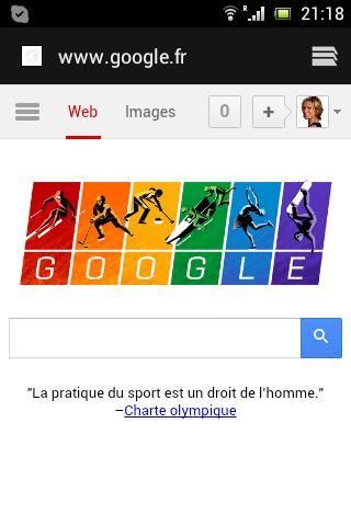Le message de Google adapté pour un écran de téléphone portable
