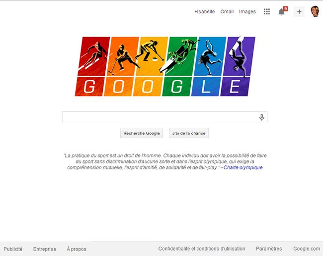 Le message de Google adapté pour un écran d'ordinateur