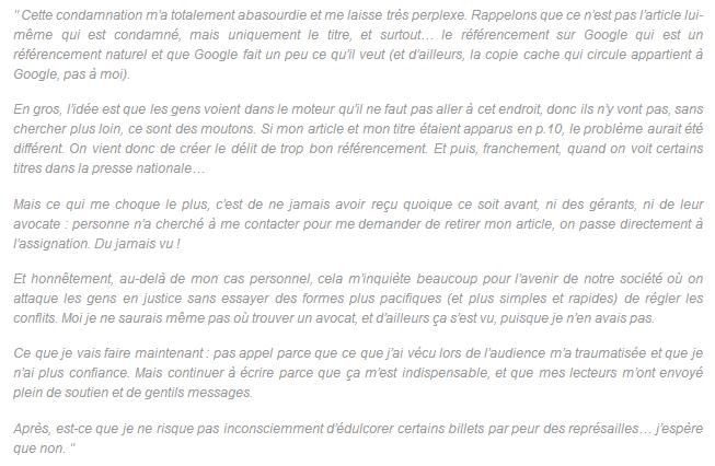 Message de la blogueuse condamnée sur Les Gourmandes 2.0