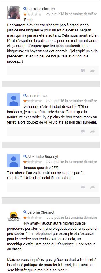 Restaurant Il Giardino : bad buzz sur Google+