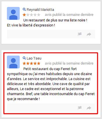 Restaurant Il Giardino : faux avis d'un internaute ?