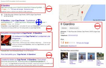 Restaurant Il Giardino : résultat sur la page de résultats