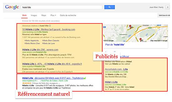 L'espace publicitaire envahit Google au détriment du référencement naturel.