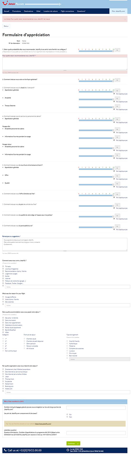 Un formullaire d'évaluation beaucoup trop long sur le site jetairfly.com.