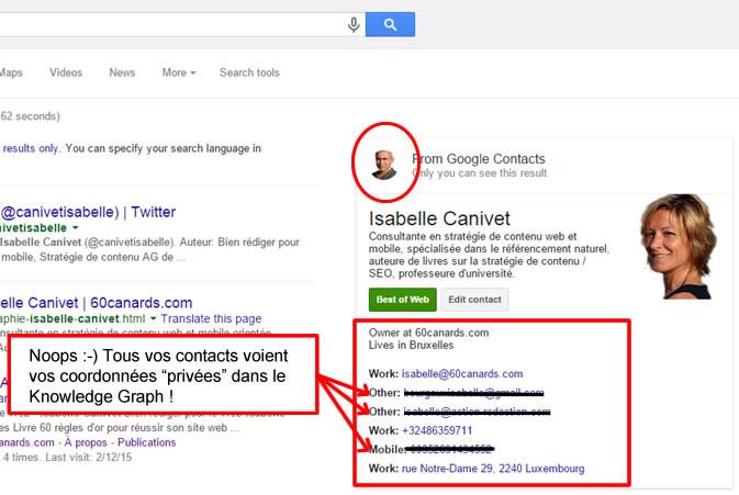 Google et vie privée ? Vos contacts ont accès à toutes vos données...