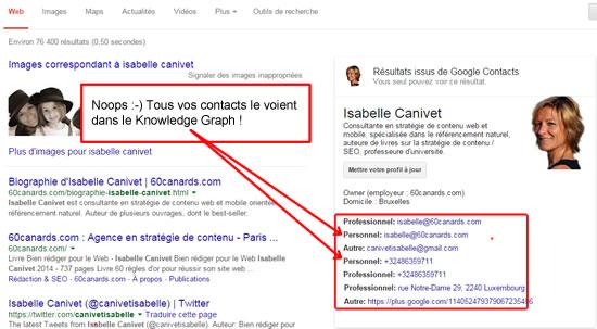 Dans Google+, vos contacts ont accès à toutes vos données