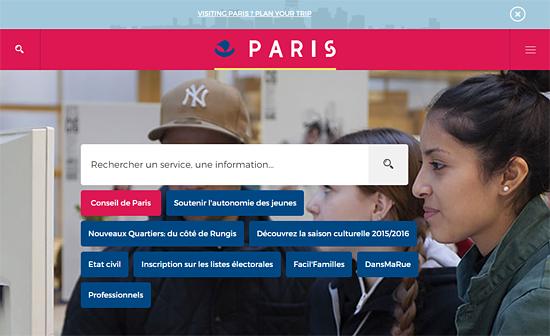 La page d'accueil du nouveau site de la ville de Paris
