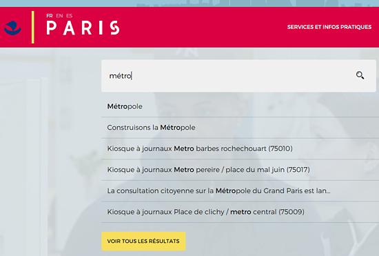 Le moteur de recherche du site web de la ville de Paris