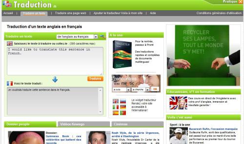 Le traducteur en ligne gratuit Voila