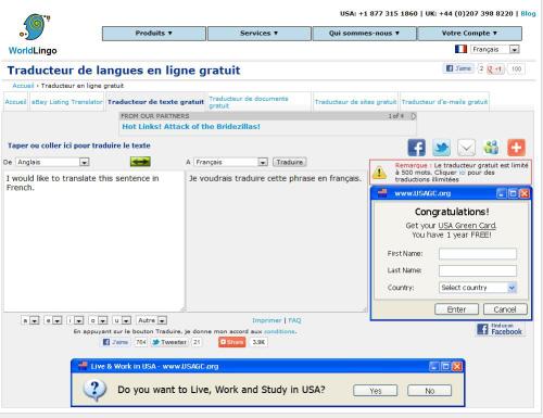 Le traducteur en ligne gratuit WorldLingo