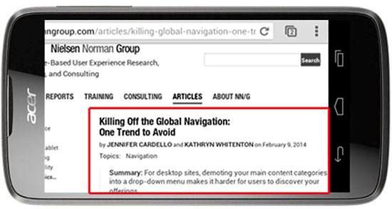 Un article du groupe Norman en affichage Smartphone
