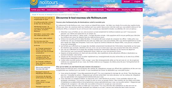 Exemple d'annonce de mise en ligne d'un nouveau site web.