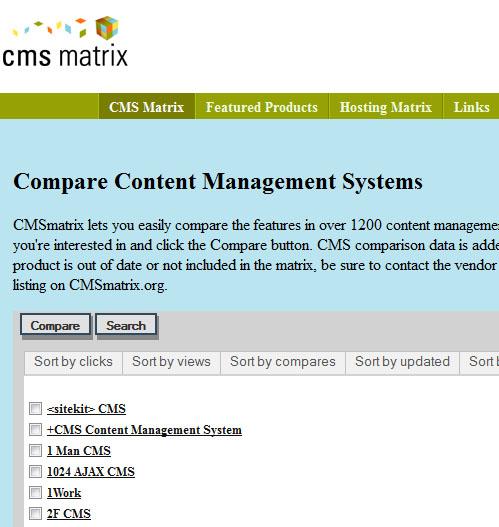 CMS Matrix permet de comparer les fonctionnalités de dizaines de CMS.