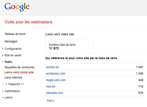 Les outils pour les webmasters de Google répertorient les liens entrants