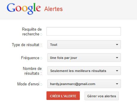Le formulaire de création d'une alerte sur Google Alertes