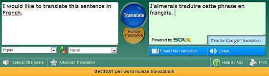 Le traducteur en ligne FreeTranslation