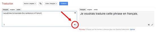 La traduction en ligne gratuite sur google Translate