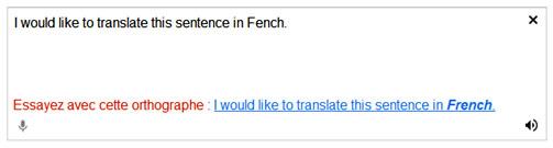 La correction orthographique intégrée à l'outil de traduction gratuit Google