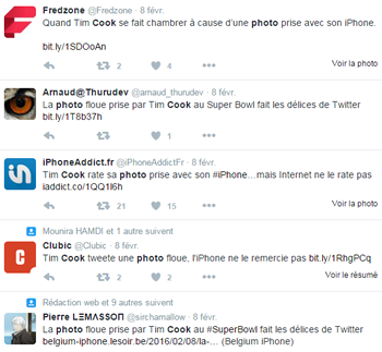Tweets ricanant à propos d'une photo prise par le pdg d'Apple