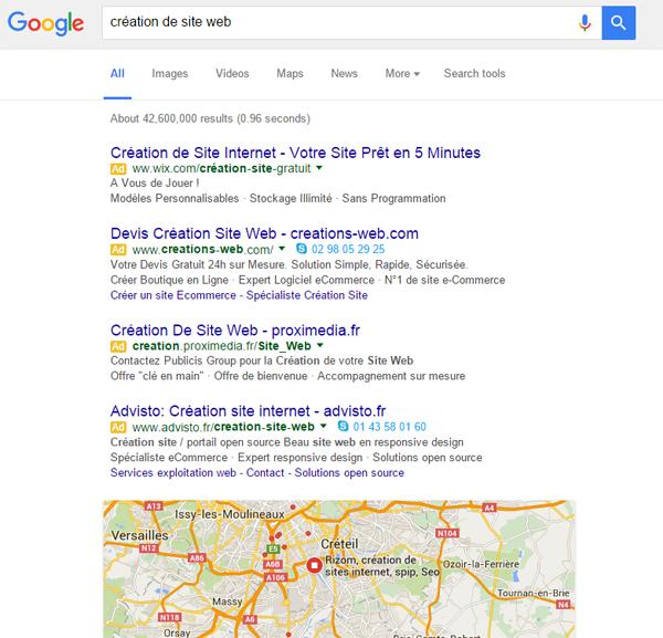 La publicité occupe désormais le premier écran de Google