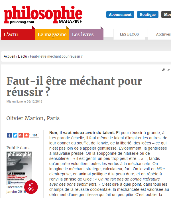 L'article original, extrait d'un magazine de philosophie