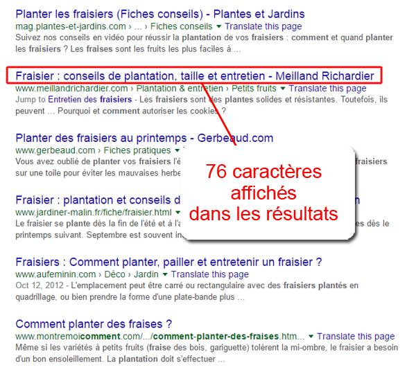 Nombre de caractères dans les résultats de Google (SERP)