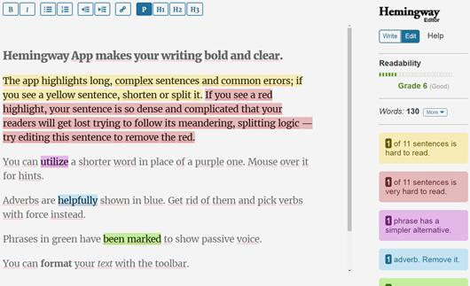 Hemingway app outil d'aide à la rédaction web