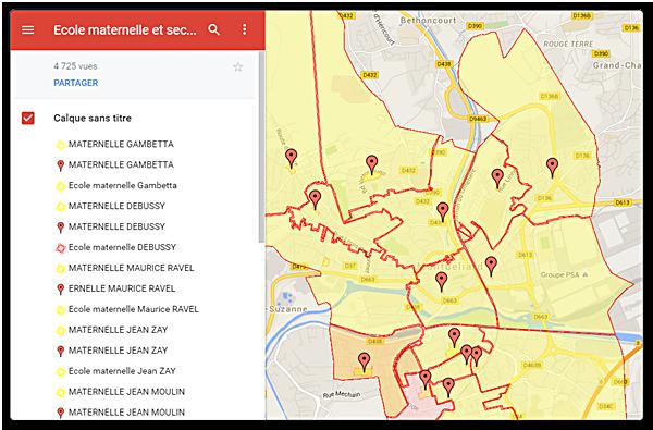 Carte interactive des écoles de Montbéliard