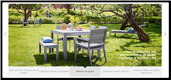 Caruselul de pe pagina de pornire a site-ului IKEA'accueil du site web IKEA